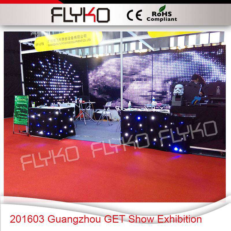 soft backdrop Guangzhou GET Show Exhibition P5 flexible vivid video vision curtain cloth 2m by 3m for hall decoration