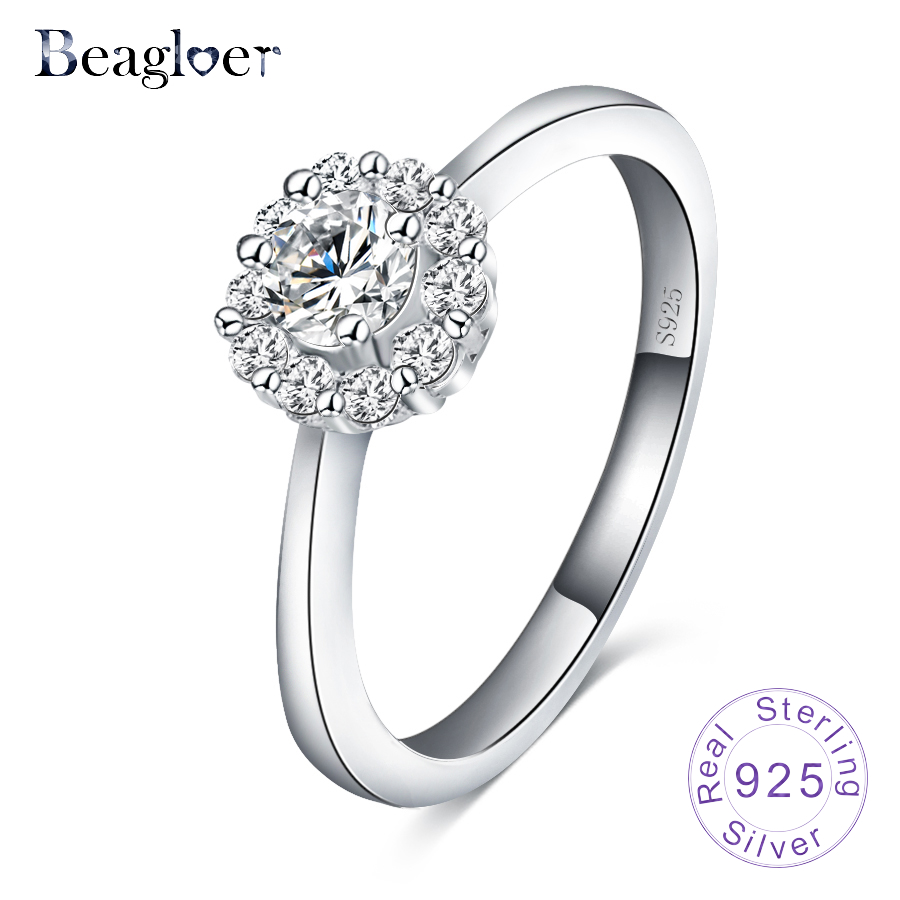 Beagloer 2017 Vintage Wedding Rings 925 Sterling Silver Rings For Women Birthday Party Fine Jewelry SRI0044-B