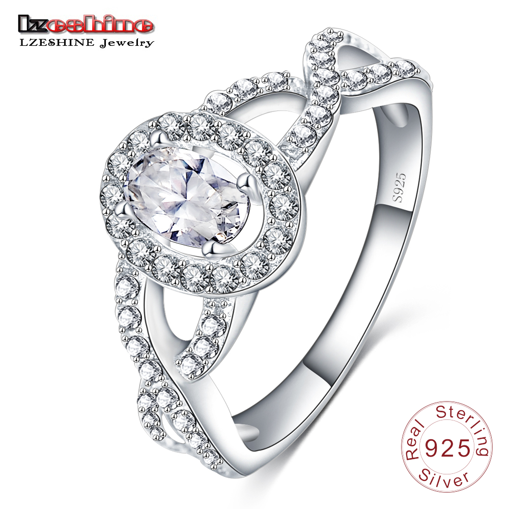LZESHINE Oval Women Ring Wedding Unique 925 Sterling Silver Fashion Brand AAA Zirconia Crystal Promise Ring SRI0014-B