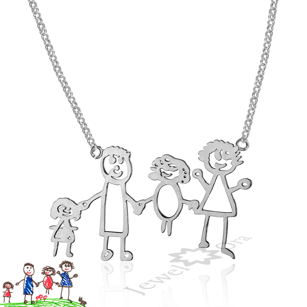 Mom Jewelry Children Birthday Gifts Personalized 925 Sterling Silver Loving Family Drawing Christmax Gift DIY Custom Necklace