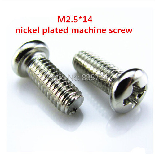 1000pcs m2.5*14 carbon steel with nickel coated phillip cross pan round head electronic l screw machine screw