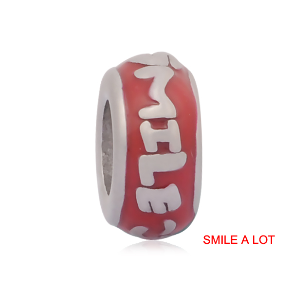 20pcs SMILE A LOT Pink Purple Red Enameled Stainless Steel Jewelry Findings Big Hole European Charm Spacer Beads SEB-LG559