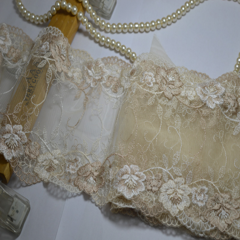 15CM (5m/lot) light brown flower Embroide Hight quality lace fabrics embroidered lace trim0508015